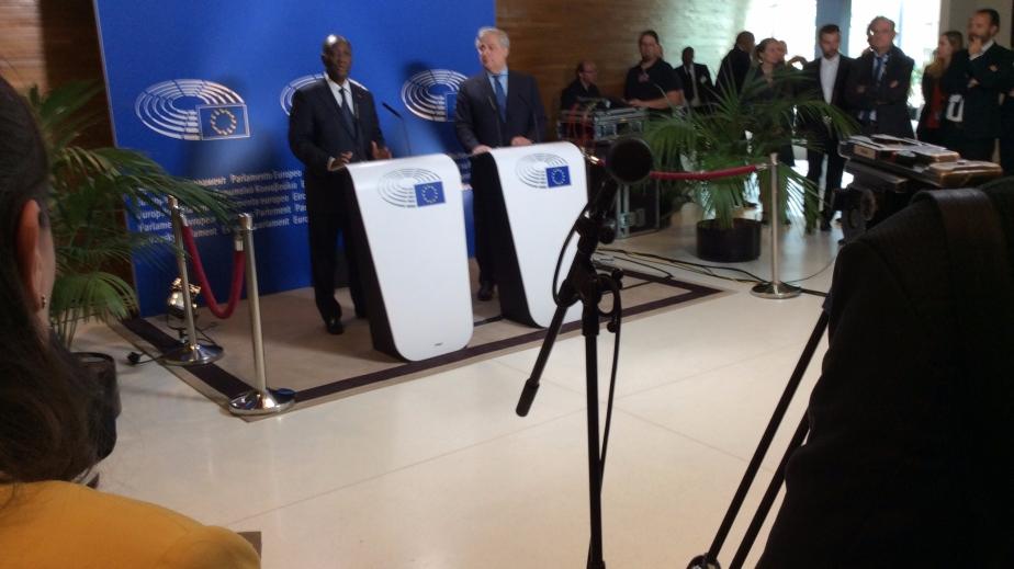Président Ouattara au Parlement européen àStrasbourg