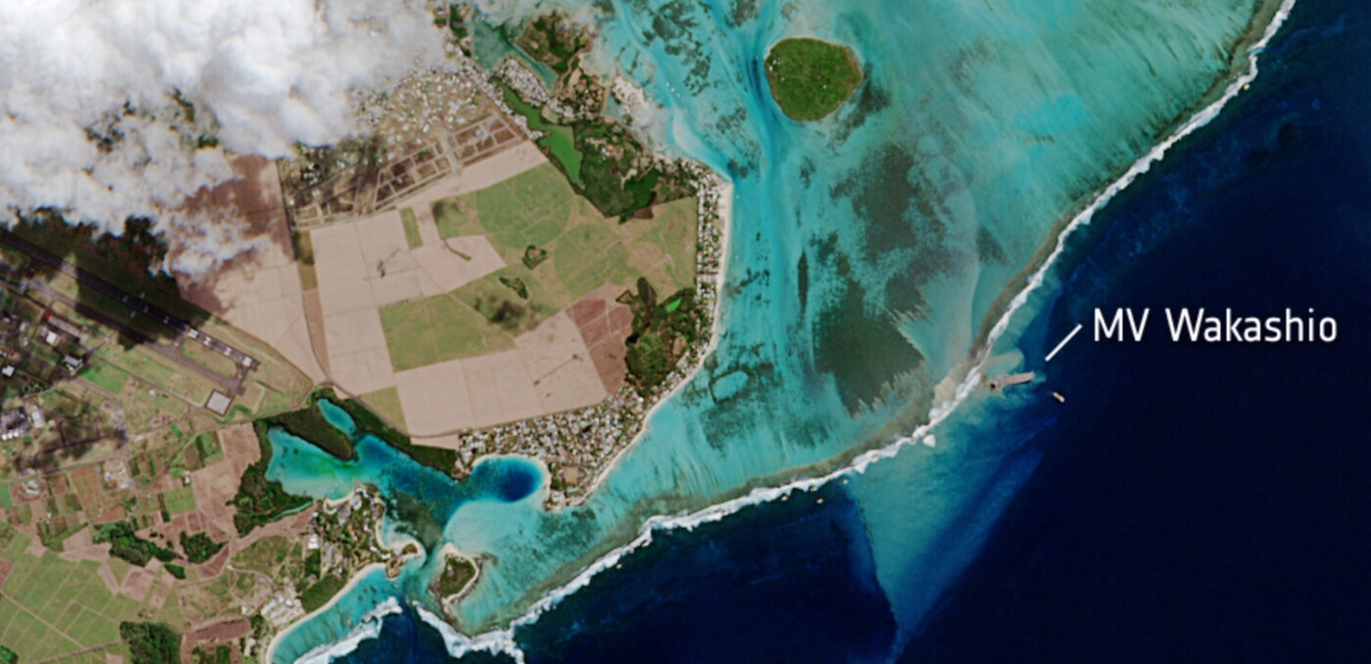 Mauritius oil spill ESA dramatic images